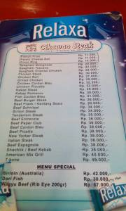 daftar menu cikawao steak