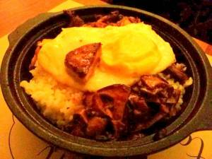hot claypot rice with foei gras (75k)