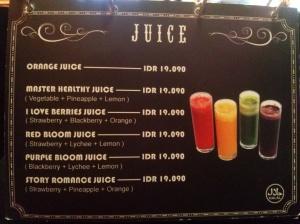 menu juice