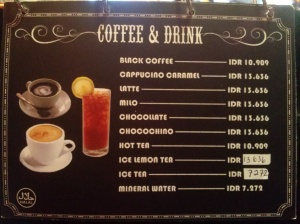 menu coffee & drink